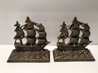 2 Rare Brass Sailing Ships Bookends Constitution Nautical HTF 5.25""