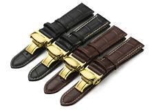 Correa de cuero de cocodrilo de grano Watch Band mariposa de oro de tono que se despliega Broche Hombres