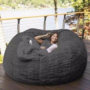 7 Foot Beanbag Chair Couch Giant Bean Bag Sofa Furry Plush Cover Washable