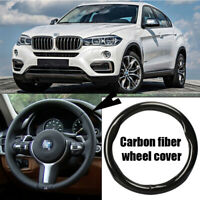 38cm black carbon fiber top PVC leather car steering wheel cover for BMW X6
