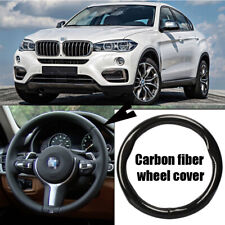38cm black carbon fiber top PVC leather car steering wheel cover for BMW X6