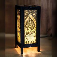 Asian/Thai Paper/Wood Bedside Table Lamp Don Poh Bodhi Tree Sacred Fig +LED bulb