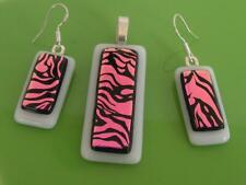 "HANDMADE DICHROIC + Art GLASS  PENDANT ETC:"" BLACK STRIPES on MAGENTA BEAUTIFUL"""