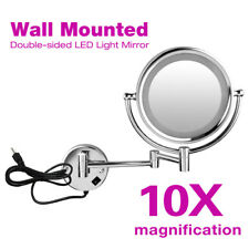 8.5 Inch 10x Magnification Lighted LED Wall Mount Cosmetic Shaving Makeup Mirror