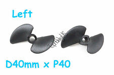 "2pcs D40mmxP40, 2-Blades Nylon RC Boat Propeller for 3/16"" Shaft  US TH038-00306"