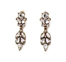 Clear Crystal on Gold Dangle Drop Earrings Statement