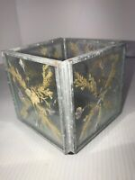 """Pressed Dried Flowers Tea Light Votive Glass Candle Holder 3.5"""" Square"""