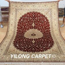 Yilong 6'x9' Big Persian Silk Rug Hand Knotted Oriental Carpet Red Handmade 0962