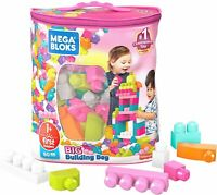 Mega Bloks Big Building bright primary-colored blocks, Pink, 80 Piece Bag