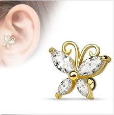 """14K Gold Plated CZ Butterfly Cartilage Ear Tragus Barbell 16g 1/4"""""""