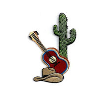 Cowboy - Guitar - Southwest - Cactus - Southwestern - Embroidered Iron On Patch