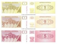 Slovenia 1 + 2 + 5 Tolarjev 1990 Set of 3 Banknotes 3 PCS UNC