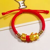 Fine Real 999 24k Yellow Gold 3D Lucky Pixiu Baby With Fu Bag Knitted Bracelet