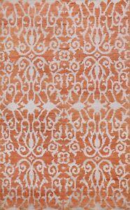 Contemporary Abstract Oriental Area Rug Wool Silk Handmade Rust Ivory Carpet 5x7