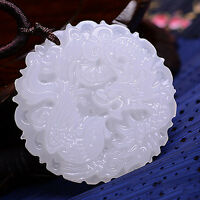 Natural Chinese White Jade Lucky Pendant Hand-carved Dragon Phoenix Auspicious