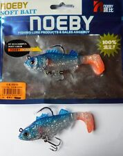 Noeby pêche leurre souple plombé odorant 9,5cm 20g X2 Bleu pailleté argent