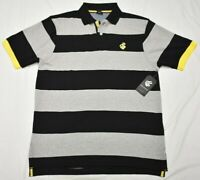 Rocawear Polo Shirt Men's Striped Logo Polo Black Grey Urban Streetwear P744