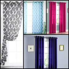 Sheer Window Curtain Home Decor Grommets Top Mosaic Pattern Two Solid Colors