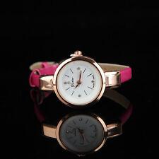 Ladies Rose Gold Quartz Analog Pink Leather Bracelet Wrist Watch.(Aussie Seller)