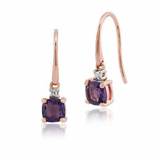 Gemondo Amethyst Cushion Cut Drop Earrings in 9ct Rose Gold