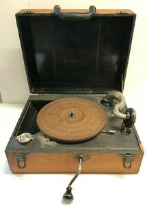 Antique Portable Victrola Style Phonograph Record Player Crank Wood Box 1920s