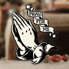 Santa mante Hands sticker pray for me HOLY CRUZ autocollant Gold 90mm