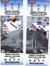 1999-2000 New York Rangers Madison Square Garden 2 Ticket Lot MINT