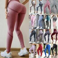 Women High Waist Yoga Pants Seamless Leggings Push Up Sports Fitness Trousers AM