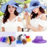 US Women Ladies Summer Wide Brim Lace Hat Floppy Derby Beach Sun Foldable Cap