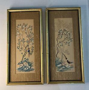 "Japanese Birds Floral Trees Nature Art Prints Bamboo Gold Gilt Frame 19x9"" Set 2"