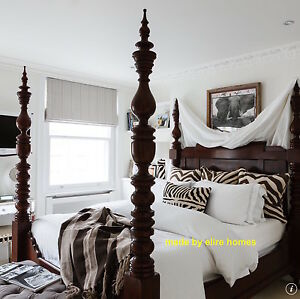 "UK STOCK ~ 4'6""  Dark Mahogany Dutch Style Designer Four Poster half tester Bed"