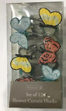 Butterfly Shower Curtain Hooks Resin Set Of 12 Multi Color