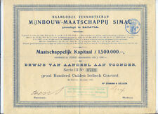 Niederländisch Indien Mijnbouw-Maatschappij Simau Aandeel 1907 Batavia mining