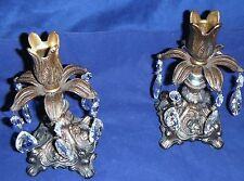 VINTAGE BRASS AND CRYSTAL PRISM CANDLE STICK HOLDERS GORGEOUS