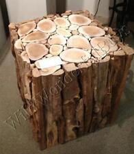 Teak Wood Accent Cube Table Furniture Rustic Lodge End Side Coastal Decor New