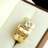 2.50 Ct Round Cut Diamond Men's Engagement wedding Pinky Ring 14K Yellow Gold Fn