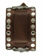 Nemesis BSSM Brown Wide Crossbone Skull Studded Leather Watch Cuff Band 24mm