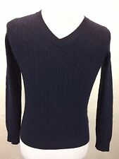 J Crew Wool Blend Midnight Blue Cable Knit V Neck Sweater Sz S