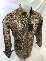 Mens PREMIERE Long Sleeve Button Down Shirt Brown LEOPARD TIGER PRINT NWT 117