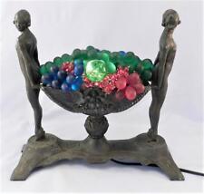 Antique~Vintage Art Deco Table Lamp~Light~Nude Women & Czech Glass Fruit Bowl