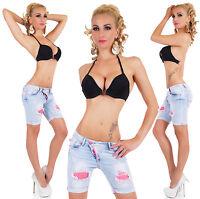 Ladies denim Capri Shorts light Blue wash with lace insert Sizes UK 4 6 8 10 12