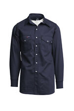 Lapco FR 7oz. XLarge Regular Navy FR Western Shirt | 100% Cotton Pearl Snaps