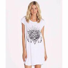 2016 NWOT WOMENS BILLABONG RA RA TIGER DRESS $30 M white graphic tee sleeveless