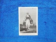 Gravure Année 1865 - Jeune fille portant de l'eau - Giovane ragazza porta acqua