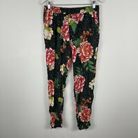 Bellini Bay Womens Pants 16 Multicoloured Floral Elastic Waist Straight