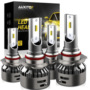 AUXITO 9005 9006 LED Combo Headlight Bulbs High Low Beam Kit 6000K White 18000LM