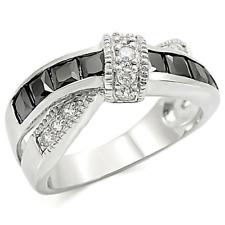 Deco Black Crystal Ring Anniversary Overlap Rhodium Silver Channel Setting SZ 10