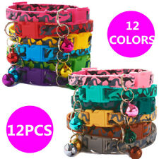 Wholesale 12pcs Dog Puppy Collars Adjustable Bell Snap Buckle Cat Kitty Necklace