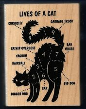 9 LIVES OF A CAT catnip overdose hairball Dog NEW INKADINKADO 2015 RUBBER STAMP