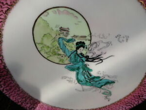 "Plate Painting-Chinese Theme: ""Moon Flower"" by  Australian Artist Lorrie Morgan"
